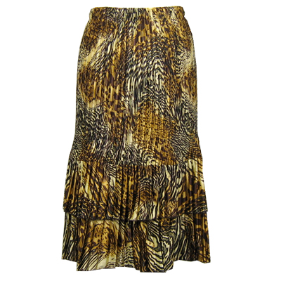 Wholesale Skirts - Satin Mini Pleat Tiered*  Swirl Leopard - One Size (S-XL)