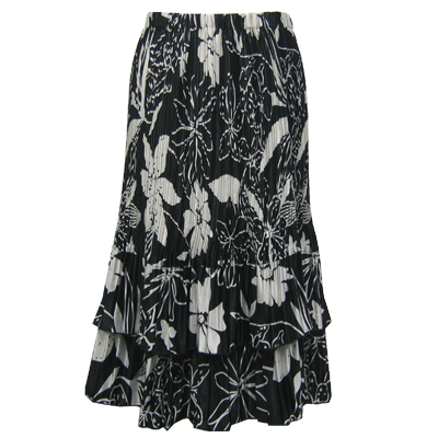 Wholesale Skirts - Satin Mini Pleat Tiered*  Floral - White on Black  - One Size (S-XL)
