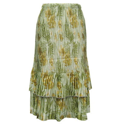 Wholesale Skirts - Satin Mini Pleat Tiered*  Gold-Sage Floral - One Size (S-XL)