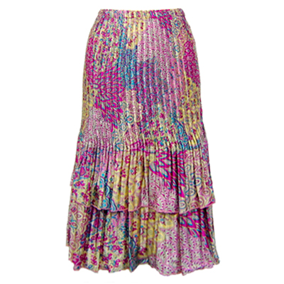 Wholesale Skirts - Satin Mini Pleat Tiered*  Paisley Magenta-Teal - One Size (S-XL)