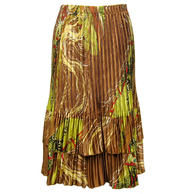 Wholesale Skirts - Satin Mini Pleat Tiered*  Swirl Copper-Lime - One Size (S-XL)
