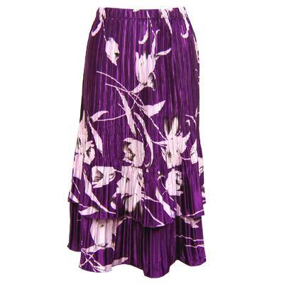 Wholesale Skirts - Satin Mini Pleat Tiered*  White Tulips on Purple - One Size (S-XL)