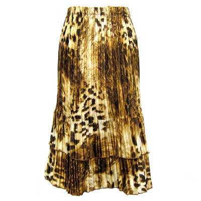 Wholesale Skirts - Satin Mini Pleat Tiered*  Giraffe Brown - One Size (S-XL)