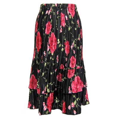 Wholesale Skirts - Satin Mini Pleat Tiered*  Black with Roses - One Size (S-XL)