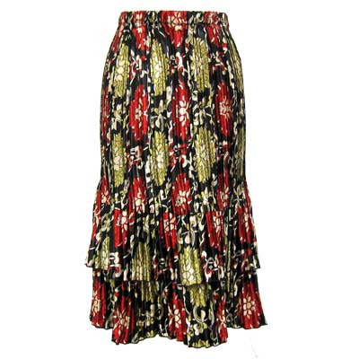 Wholesale Skirts - Satin Mini Pleat Tiered*  Medallion Gold-Red  - One Size (S-XL)