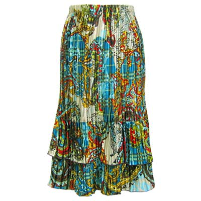Wholesale Skirts - Satin Mini Pleat Tiered*  Paisley Plaid Teal - One Size (S-XL)