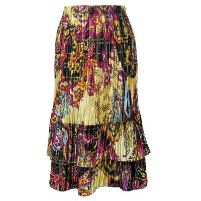 Wholesale Skirts - Satin Mini Pleat Tiered*  Paisley Plaid Magenta  - One Size (S-XL)