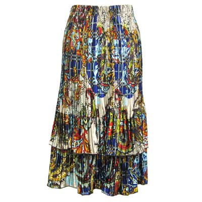 Wholesale Skirts - Satin Mini Pleat Tiered*  Paisley Plaid Royal - One Size (S-XL)