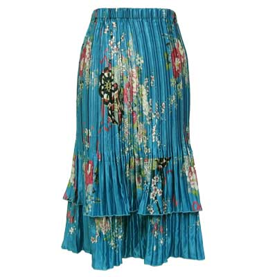 Wholesale Skirts - Satin Mini Pleat Tiered*  China Teal - One Size (S-XL)