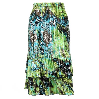 Wholesale Skirts - Satin Mini Pleat Tiered*  Lime-Aqua Peacock - One Size (S-XL)