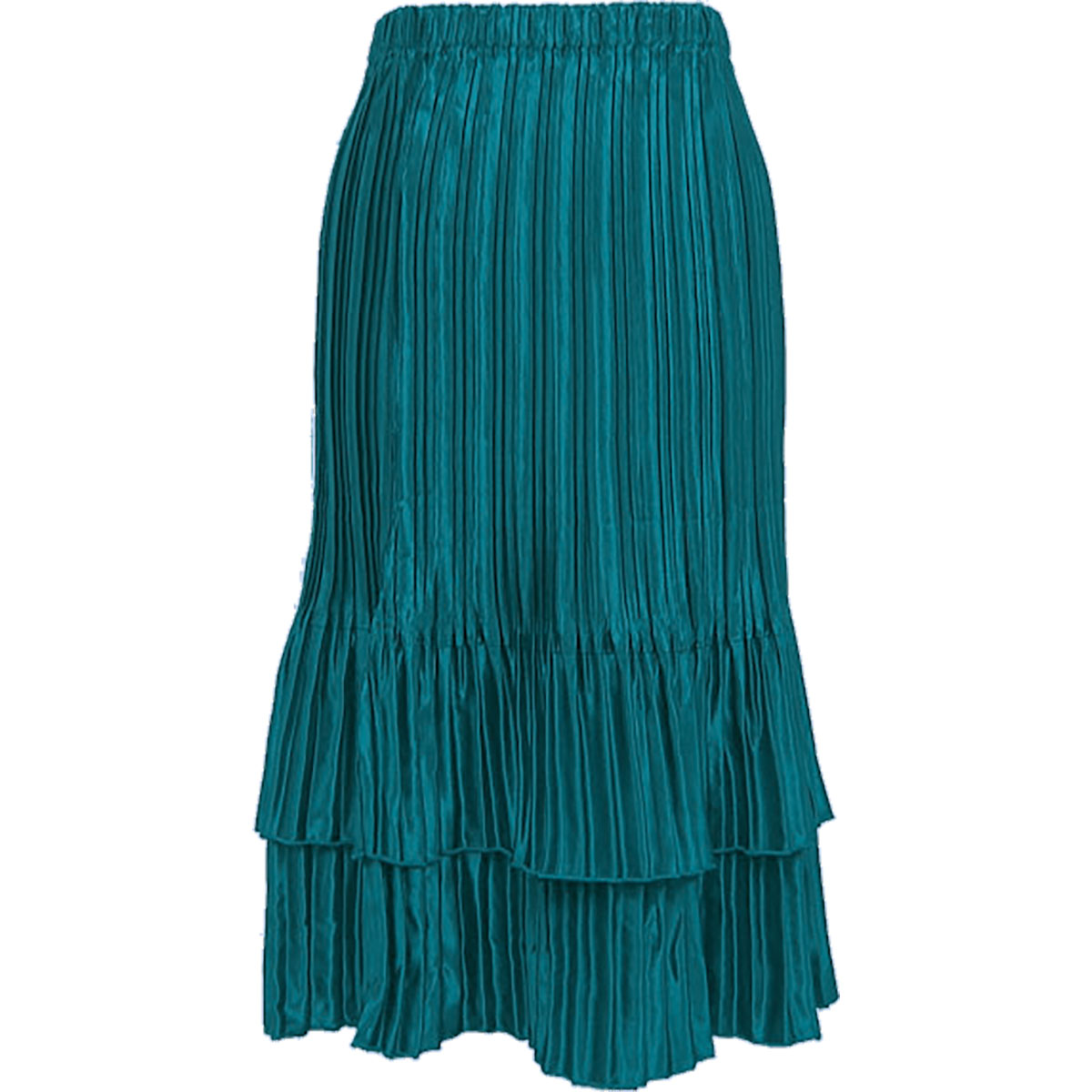 Wholesale Skirts - Satin Mini Pleat Tiered* Solid Dark Turquoise  - One Size (S-XL)