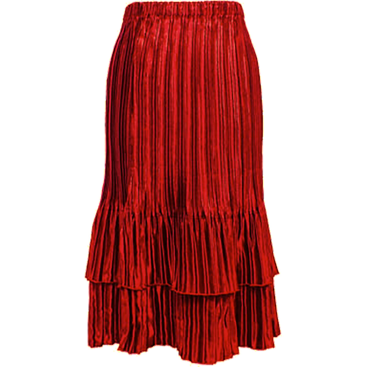 Wholesale Skirts - Satin Mini Pleat Tiered* Solid Red - One Size (S-XL)