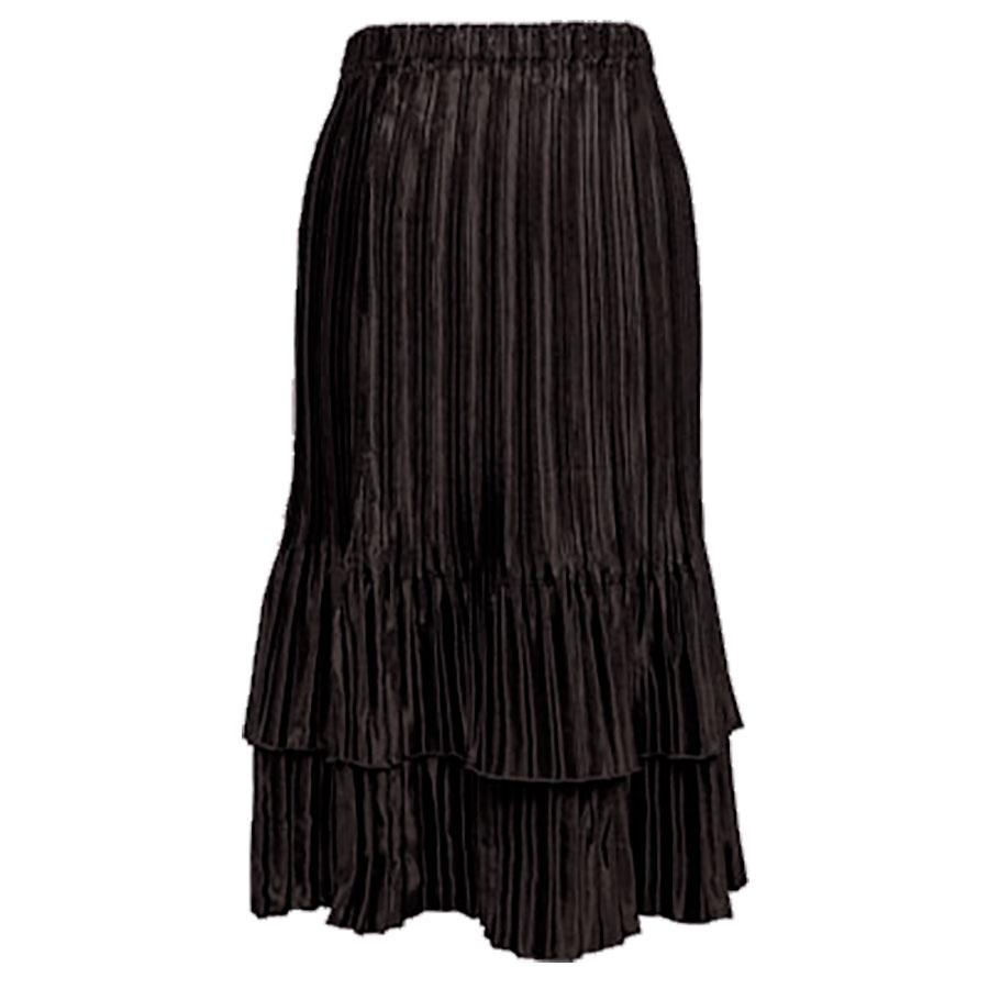 Wholesale Skirts - Satin Mini Pleat Tiered* Solid Dark Espresso - One Size (S-XL)
