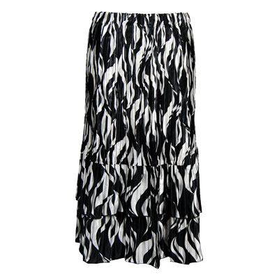 Wholesale Skirts - Satin Mini Pleat Tiered*  White Buds on Black - One Size (S-XL)