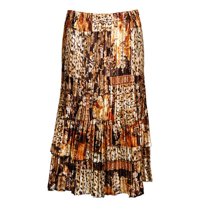 Wholesale Skirts - Satin Mini Pleat Tiered*  Multi Animal Floral - One Size (S-XL)