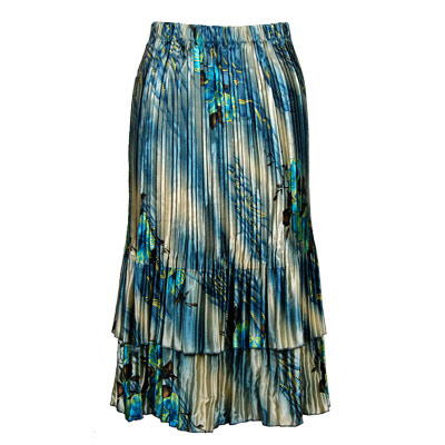 Wholesale Skirts - Satin Mini Pleat Tiered*  Marble Floral - Blue  - One Size (S-XL)