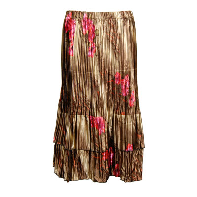 Wholesale Skirts - Satin Mini Pleat Tiered*  Marble Floral - Taupe  - One Size (S-XL)