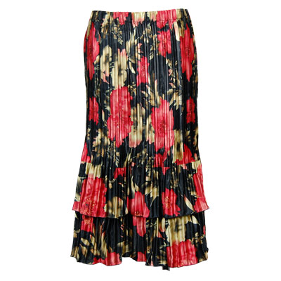 Wholesale Skirts - Satin Mini Pleat Tiered*  Coral Blossoms on Black - One Size (S-XL)