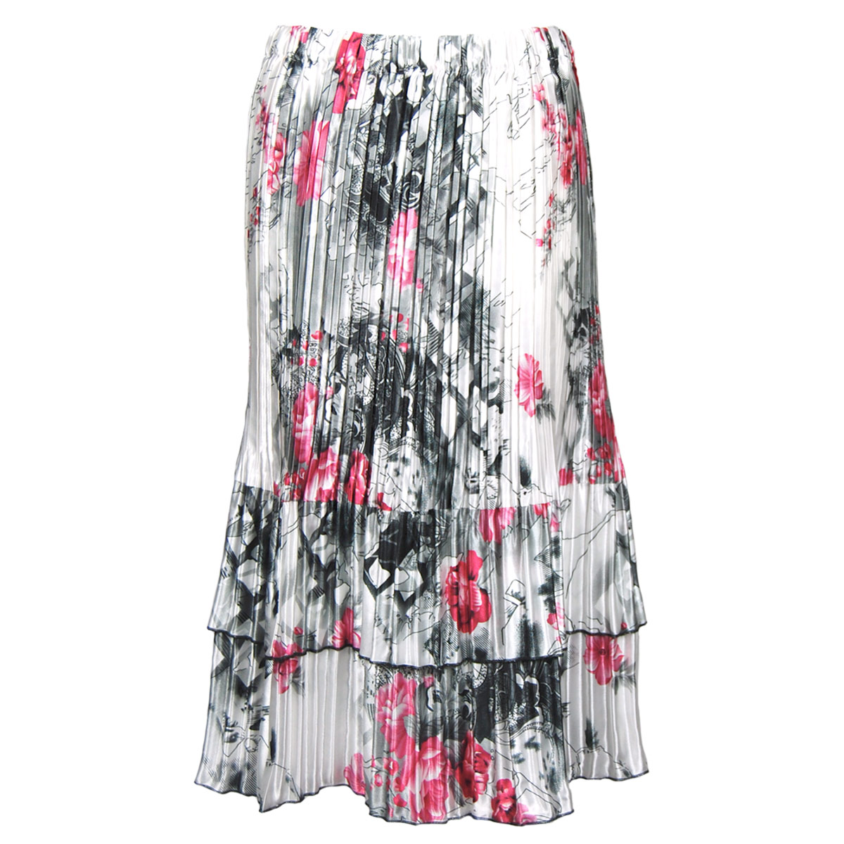 Wholesale Satin Mini Pleats - Half Sleeve V-Neck  White-Black-Pink Floral - One Size (S-XL)