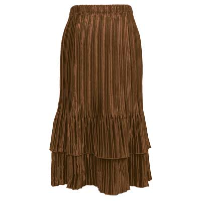 Wholesale Skirts - Satin Mini Pleat Tiered* Solid Nutmeg - One Size (S-XL)