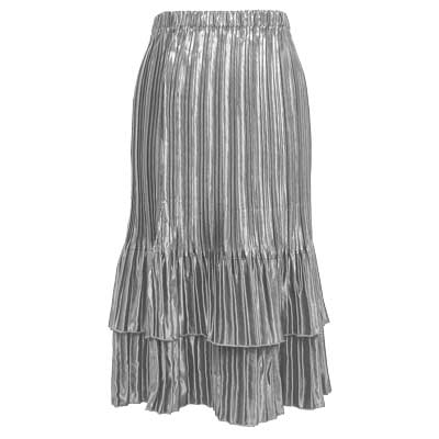Wholesale Skirts - Satin Mini Pleat Tiered* Solid Silver - One Size (S-XL)