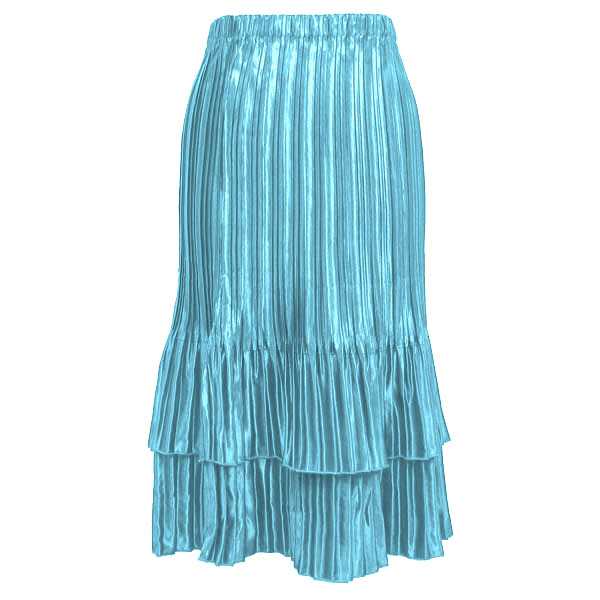 Skirts - Satin Mini Pleat Tiered* - Solid Aqua