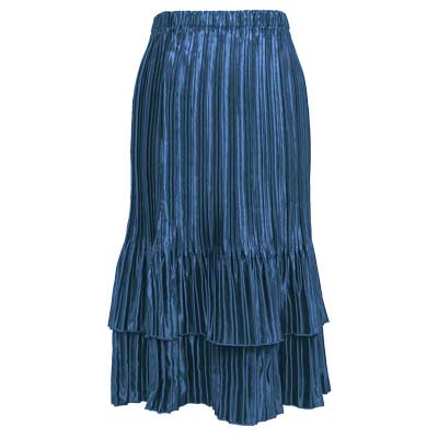 Wholesale Skirts - Satin Mini Pleat Tiered* Solid Slate - One Size (S-XL)