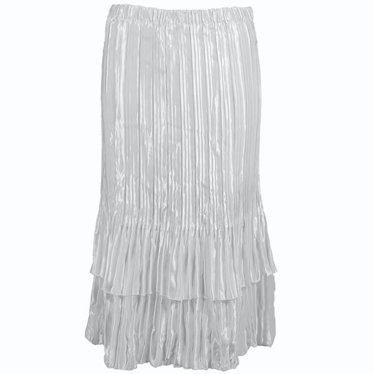 Wholesale Skirts - Satin Mini Pleat Tiered* Solid White - One Size (S-XL)