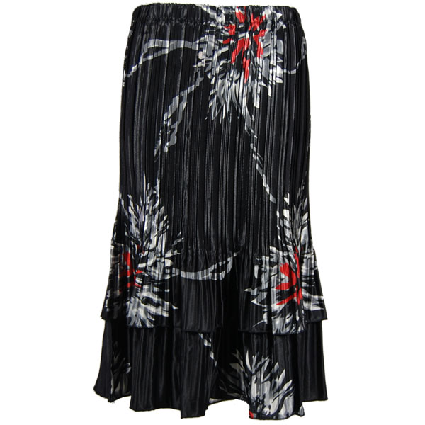 Wholesale Skirts - Satin Mini Pleat Tiered*  Oriental Floral Black-Red - One Size (S-XL)