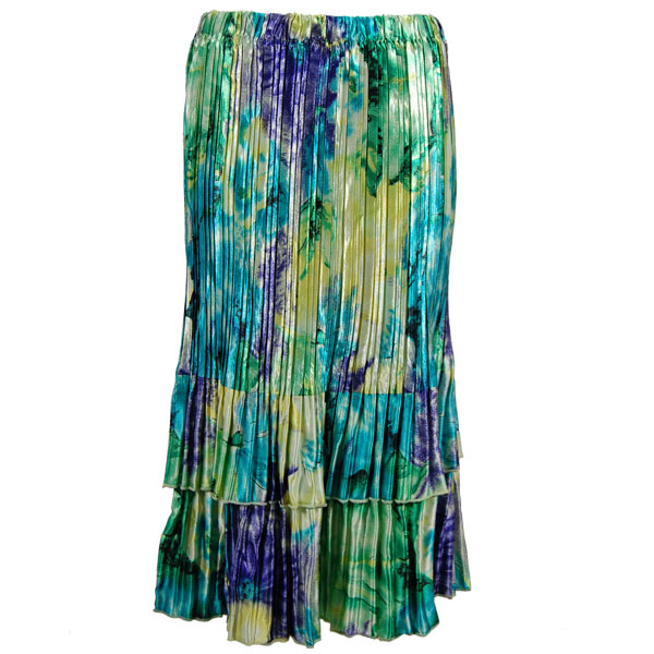 Wholesale Skirts - Satin Mini Pleat Tiered*  Blue-Purple-Yellow Watercolors - One Size (S-XL)