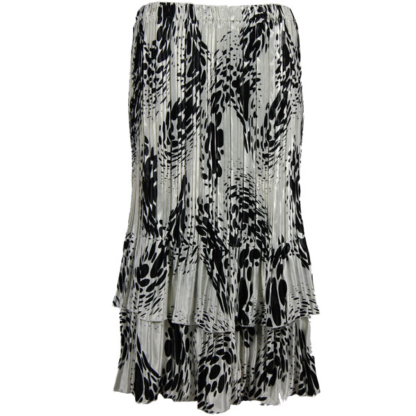 Wholesale Skirts - Satin Mini Pleat Tiered*  White-Black Swirl Dots - One Size (S-XL)