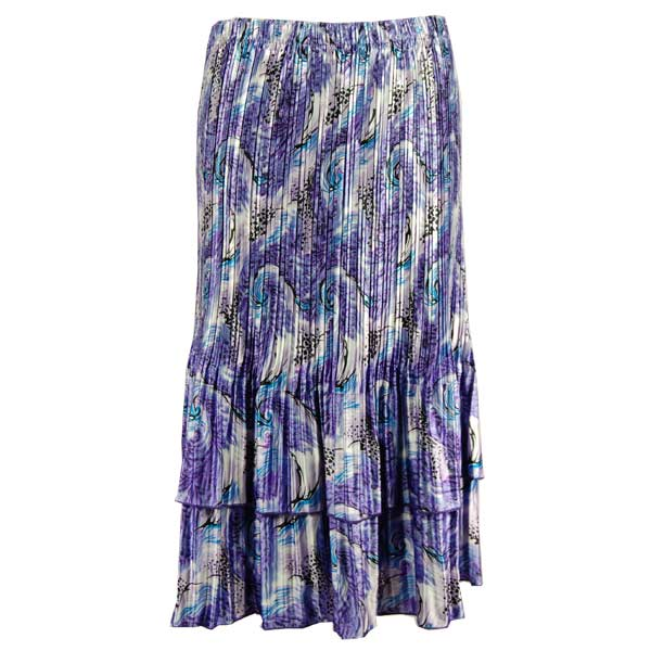 Wholesale Skirts - Satin Mini Pleat Tiered*  Purple Print  - One Size (S-XL)