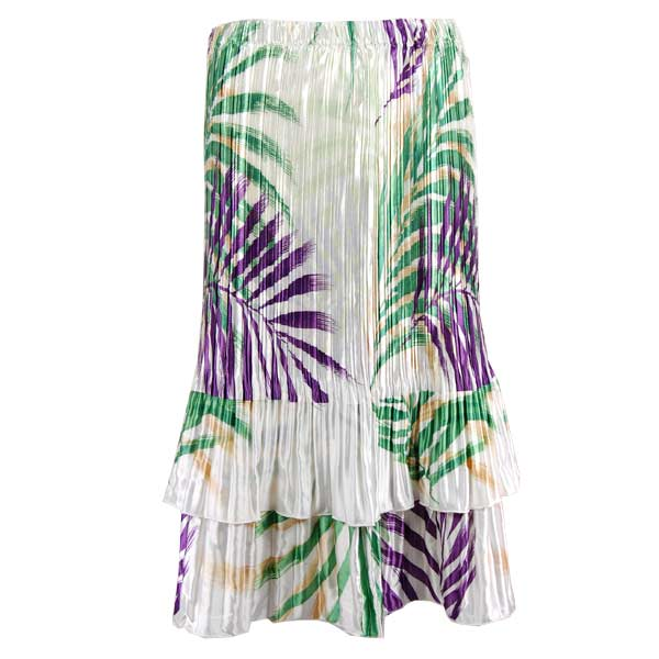 Wholesale Skirts - Satin Mini Pleat Tiered*  Palm Leaf Green-Purple - One Size (S-XL)