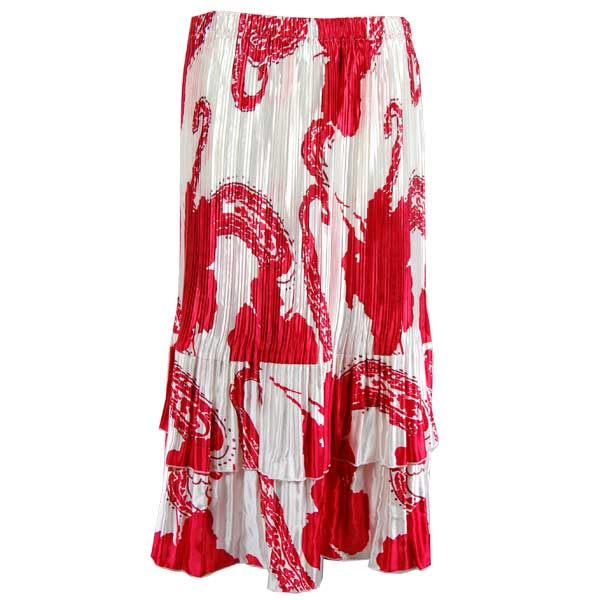 Wholesale Skirts - Satin Mini Pleat Tiered*  Red on White  - One Size (S-XL)