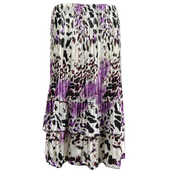 Wholesale Skirts - Satin Mini Pleat Tiered*  Reptile Floral - Purple - One Size (S-XL)