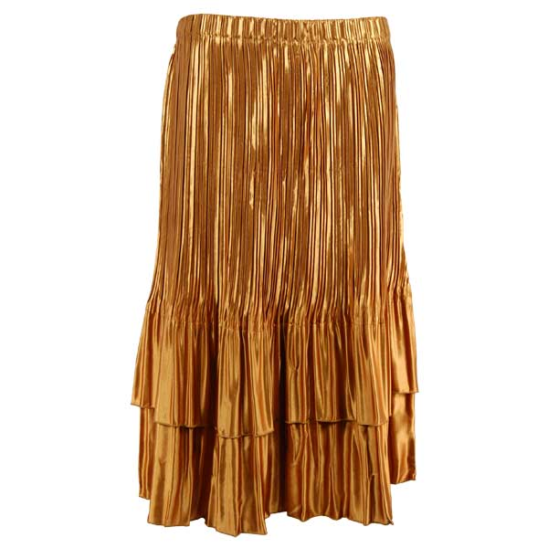 Wholesale Skirts - Satin Mini Pleat Tiered* Solid Goldenrod - One Size (S-XL)