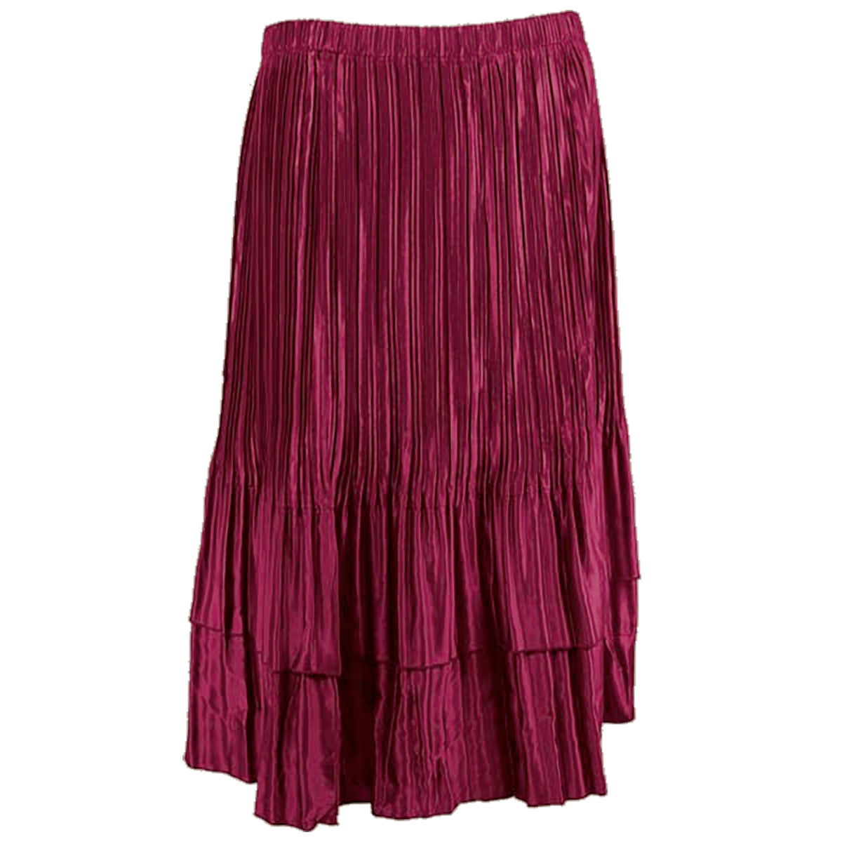 Wholesale Skirts - Satin Mini Pleat Tiered* Solid Ruby - One Size (S-XL)
