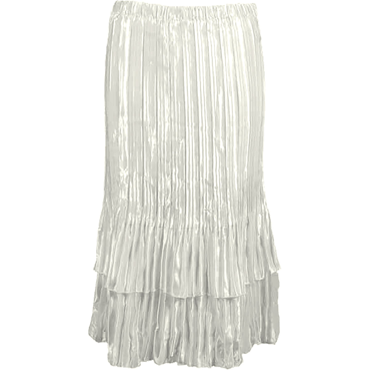 Wholesale Skirts - Satin Mini Pleat Tiered* Solid Off White - One Size (S-XL)