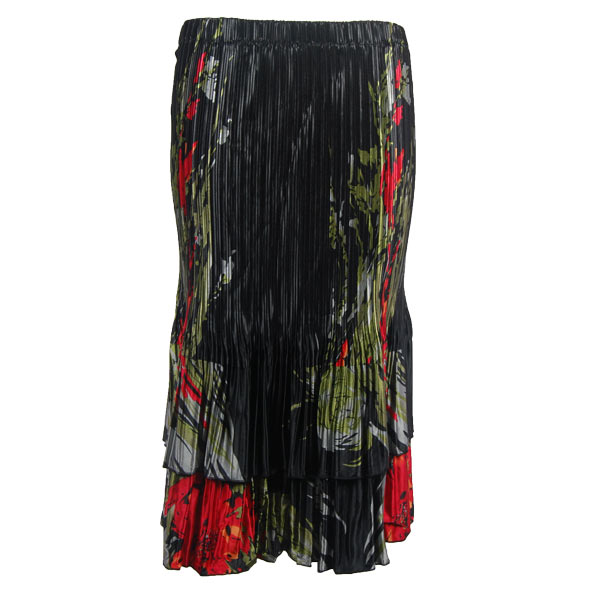 Wholesale Skirts - Satin Mini Pleat Tiered*  Olive-Red Floral on Black - One Size (S-XL)