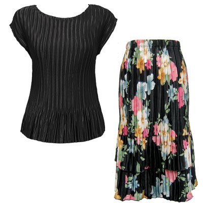 Matching Satin Mini Pleat Skirt and Top Sets