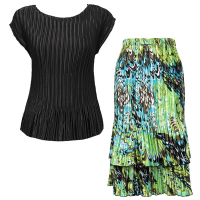 Matching Satin Mini Pleat Skirt and Top Sets 748