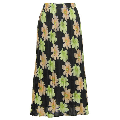 Wholesale Skirts - Georgette Mini Pleat Ankle Length*  Hibiscus Peach-Green  - One Size (S-XL)