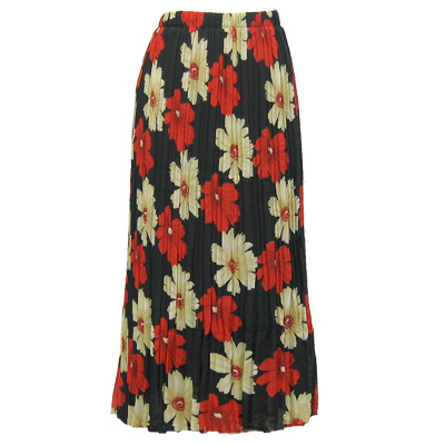 Wholesale Skirts - Georgette Mini Pleat Ankle Length*  Hibiscus Red-Tan - One Size (S-XL)
