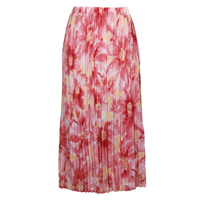 Wholesale Skirts - Georgette Mini Pleat Ankle Length*  Daisies - Pink  - One Size (S-XL)