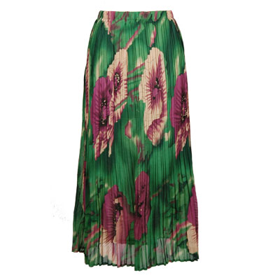 Wholesale Skirts - Georgette Mini Pleat Ankle Length*  Poppies - Green  - One Size (S-XL)