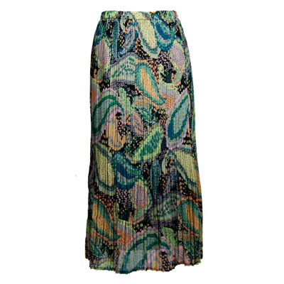 Wholesale Skirts - Georgette Mini Pleat Ankle Length*  Paisley Floral - Cool  - One Size (S-XL)