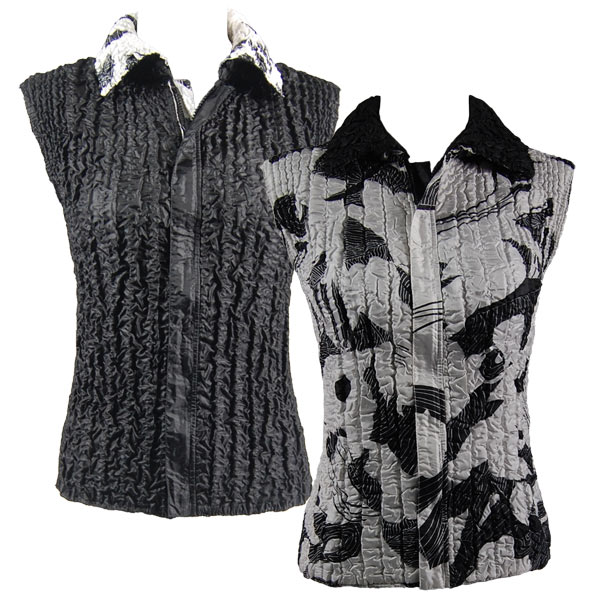 Quilted Reversible Vests - African White-Black reverses to Solid Black