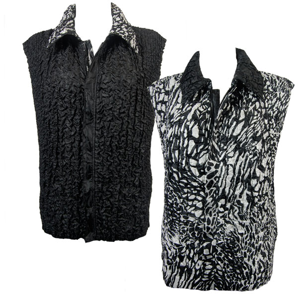 Wholesale Ultra Light Crush Silky Touch - 3/4 Sleeve* Animal Print Black-White reverses to Solid Black - S-L
