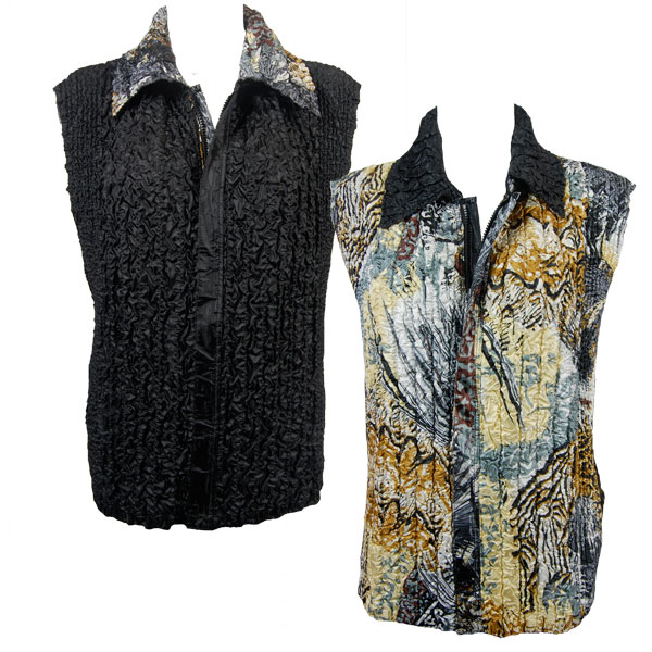 Wholesale Ultra Light Crush Silky Touch - 3/4 Sleeve* Abstract Black-Gold reverses to Solid Black - S-L