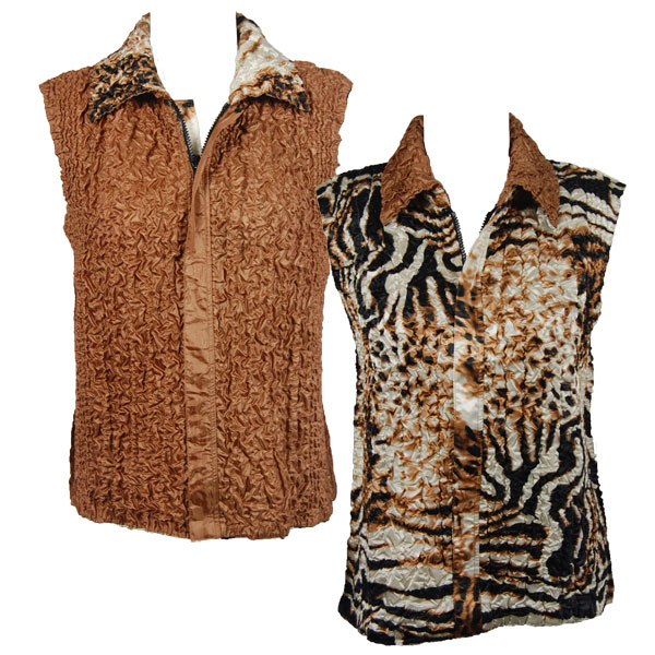 Quilted Reversible Vests - Bronze Leopard reverses to Solid Bronze